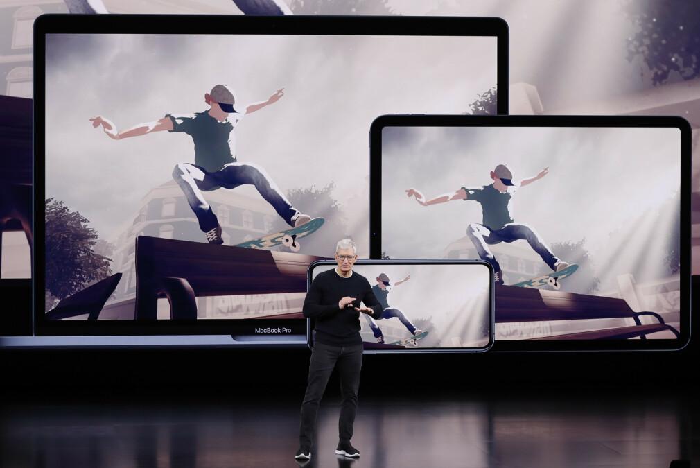 Norske Skate City fra Agens har hele tida vært ett av salgsargumentene for Apple Arcade-tjenesten. Her fra da Tim Cook først fortalte om spilltjenesten i september. 📸: Stephen Lam / Reuters / NTB Scanpix