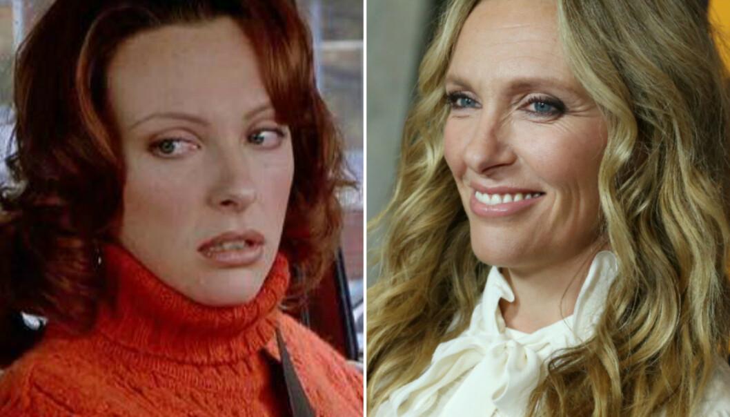 VAR AKTUELL: Toni Collette hadde nettopp spilt i suksessen «The Sixth Sense» da hun ble tilbudt rollen som Bridget Jones. Her er hun i 2000 (til venstre) og i 2019. FOTO: Scanpix