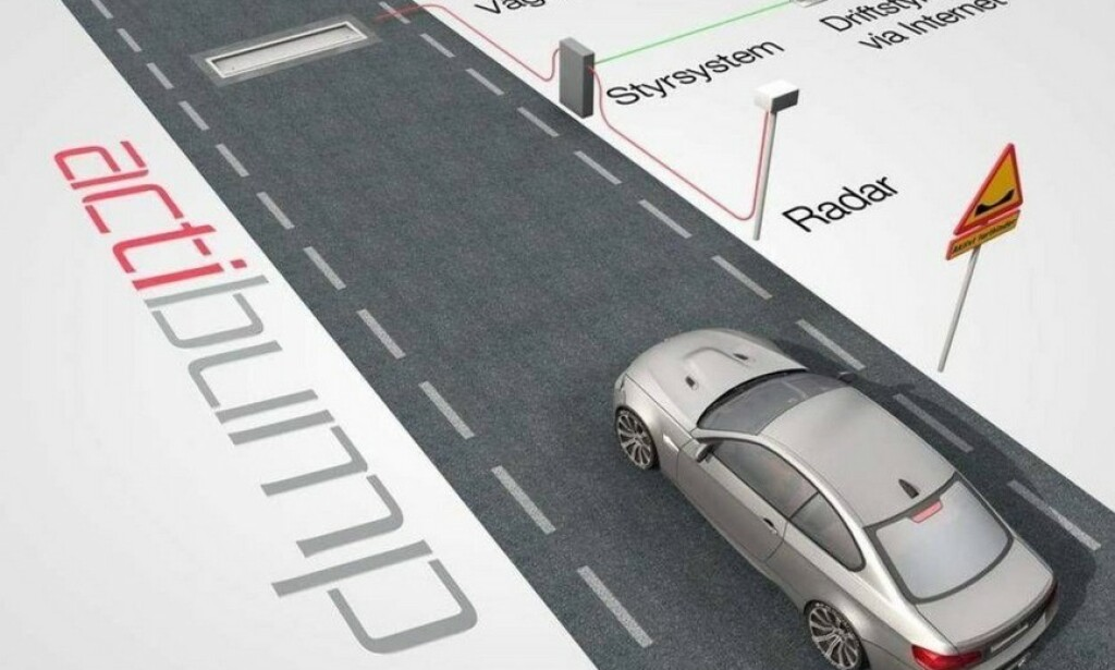 FOR FORT: Farten din måles av en radar. Kjører du fortere enn fartsgrensen, senkes stålplaten seks centimeter i forkant og skaper en dump som gir et slag i bilen. Ill: Edeva