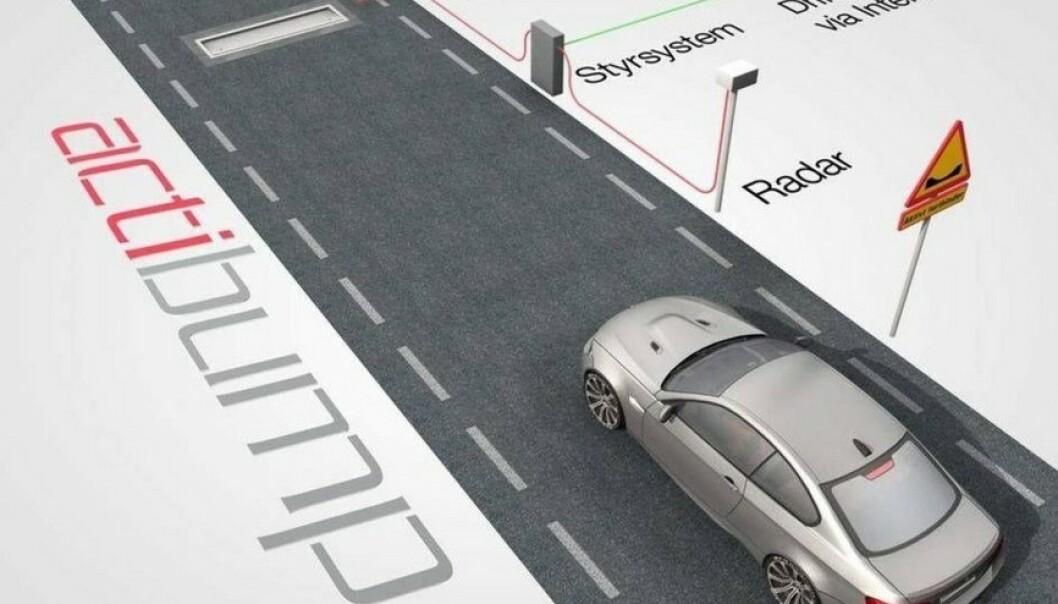 <strong>FOR FORT:</strong> Farten din måles av en radar. Kjører du fortere enn fartsgrensen, senkes stålplaten seks centimeter i forkant og skaper en dump som gir et slag i bilen. Ill: Edeva