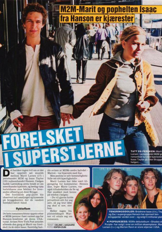 <strong>DATET ISAAC:</strong> Marit Larsen og Isaac Hanson møtte hverandre mens Marit var med i duoen M2M, og Isaac besøkte henne blant annet i Norge. Foto: Se og Hør faksimile