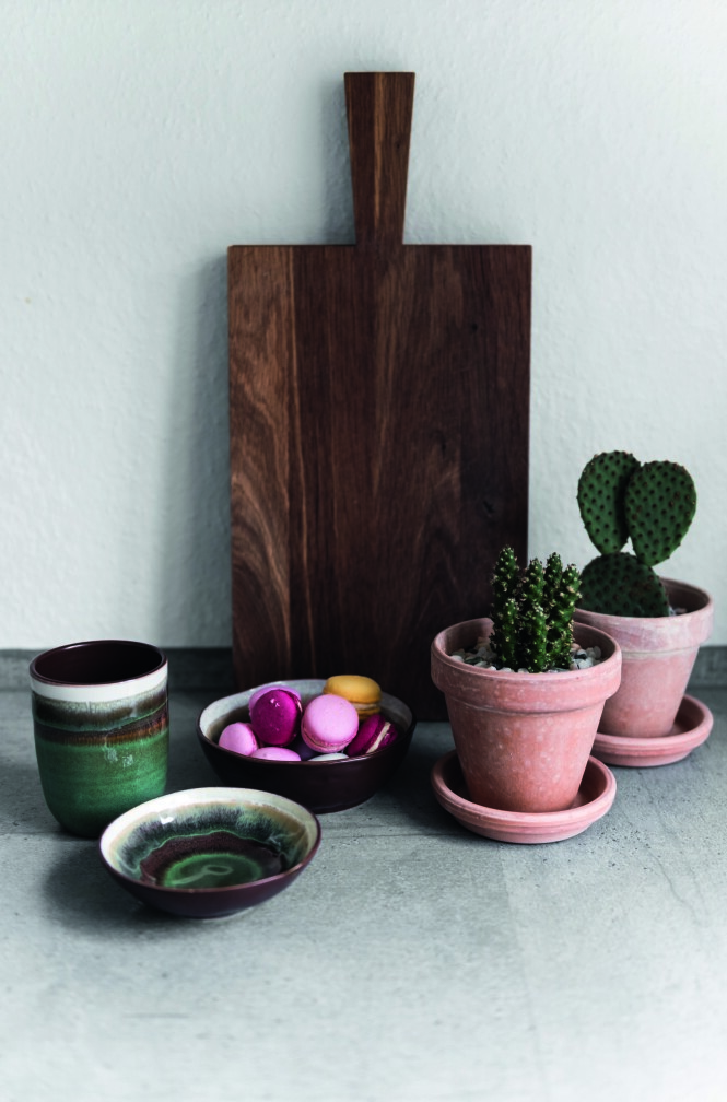 På kjøkkenbenken har Camilla Rigmor laget et stilleben av et par kaktuser, noen skåler, makroner og en skjærefjøl. FOTO: Benjamin Lee Rønning Lassen