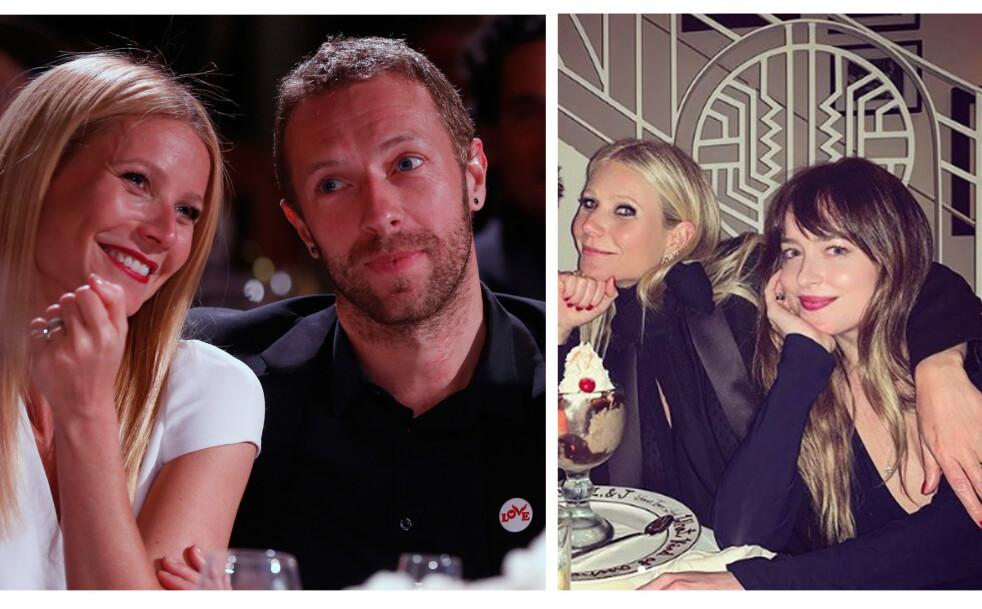 VENNSKAP: Til tross for at ekteskapet mellom Chris Martin og Gwyneth Paltrow røk i 2015, har de beholdt det gode vennskapet. FOTO: NTB Scanpix og Skjermdump // Derek Blasberg Instagram