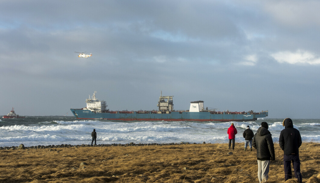 Cargoskipet Tide Carrier fikk motorstopp utenfor Rogaland i februar 2017. Foto: Carina Johansen / NTB scanpix