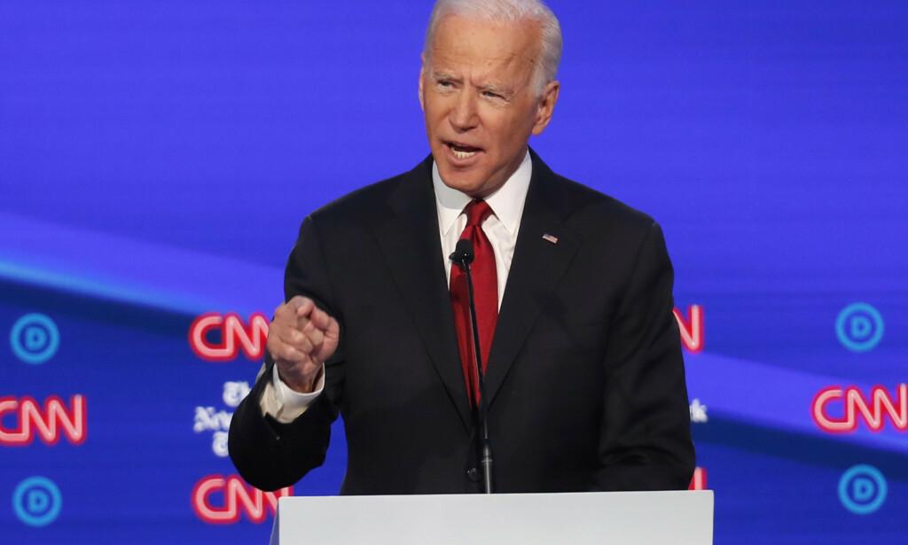 – Sønnen min gjorde ikke noe galt. Jeg gjorde ikke noe galt, sa Joe Biden om Ukraina-saken i en TV-debatt tirsdag. Foto: AP / NTB scanpix