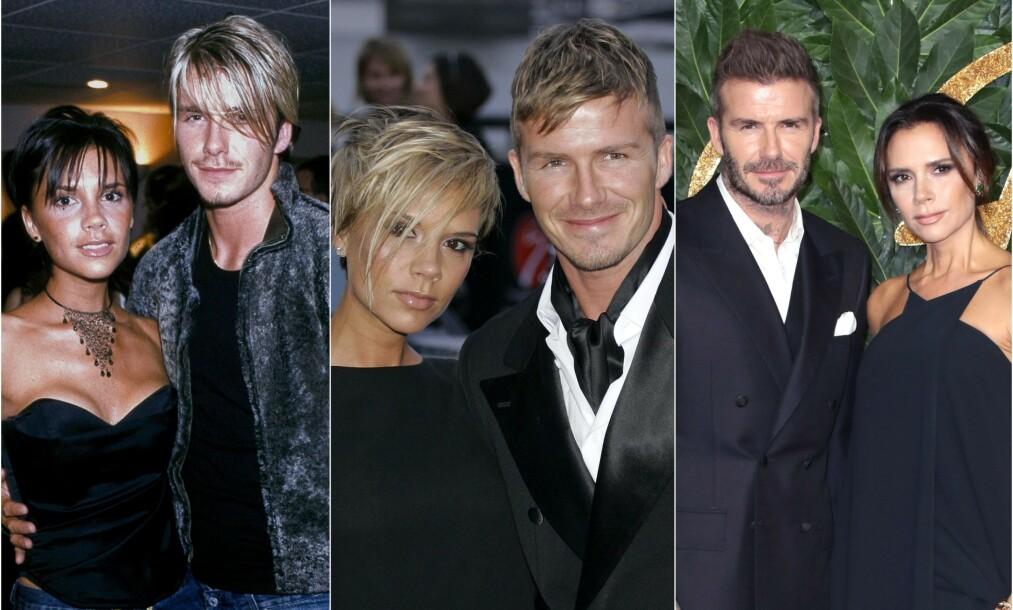 <strong>GODT GIFT:</strong> Stjerneparet har vært gift i 20 år. Her er paret fotografert i 1999 (til venstre), 2007 (i midten) og 2018 (til høyre). Foto: NTB Scanpix