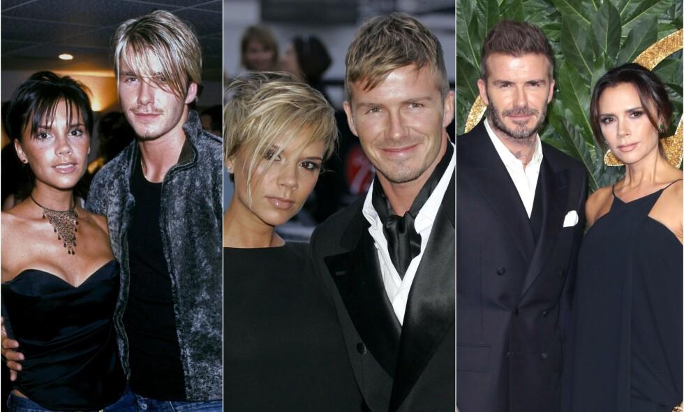 GODT GIFT: Stjerneparet har vært gift i 20 år. Her er paret fotografert i 1999 (til venstre), 2007 (i midten) og 2018 (til høyre). Foto: NTB Scanpix