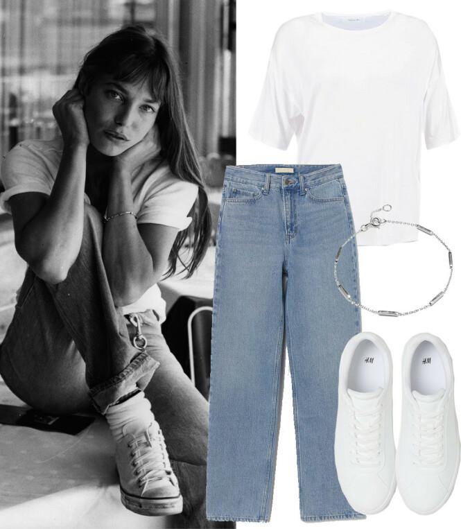 JANE BIRKIN: T-skjorte fra Moss Copenhagen via Boozt.com, kr 250. Jeans fra H&M, kr 399. Armbånd fra Glitter, kr 169. Sneakers fra H&M, kr 199.