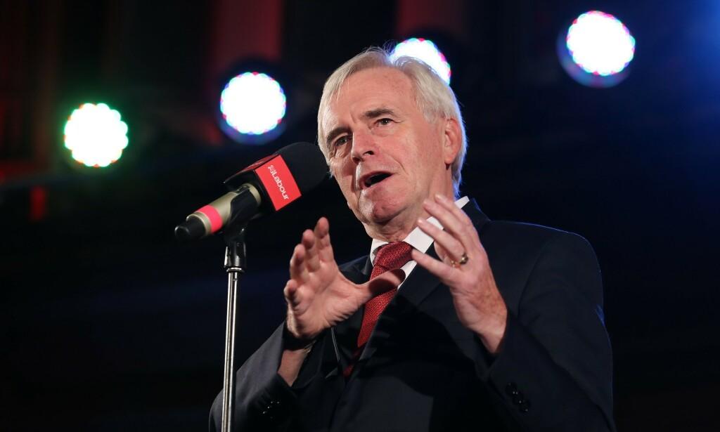 CELEBRATES: John McDonnell, Labour's fiscal spokesman, believes Boris Johnson is behaving like a spoiled snowman. Photo: ISABEL INFANTES / AFP)
