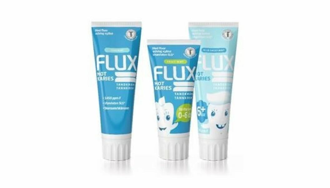 <strong>FLUX TANNKREM:</strong> Flux har tannkremer tilpasset til hele familien med gode smaker. De inneholder riktig mengde fluor, og er fri for såpestoffer, allergener og mikroplast.