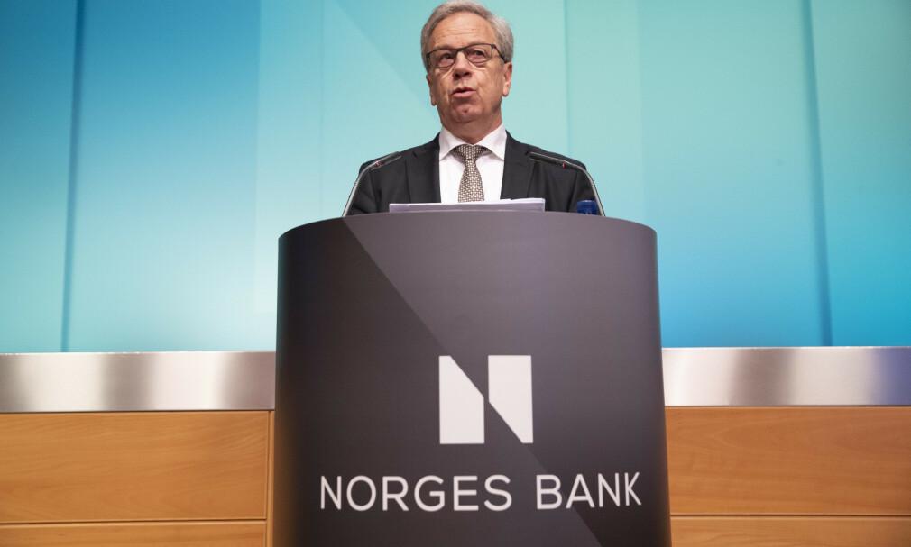 INGEN ENDRING: Sentralbanksjef Øystein Olsen kan fortelle at sentralbanken ikke endrer renta i oktober. Foto: NTB Scanpix.