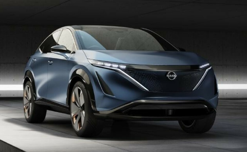KONSEPT: Nissan Ariya ble vist under Tokyo Motor Show. Skal vise fremtiden for Nissans elektriske modeller. Foto: Nissan.