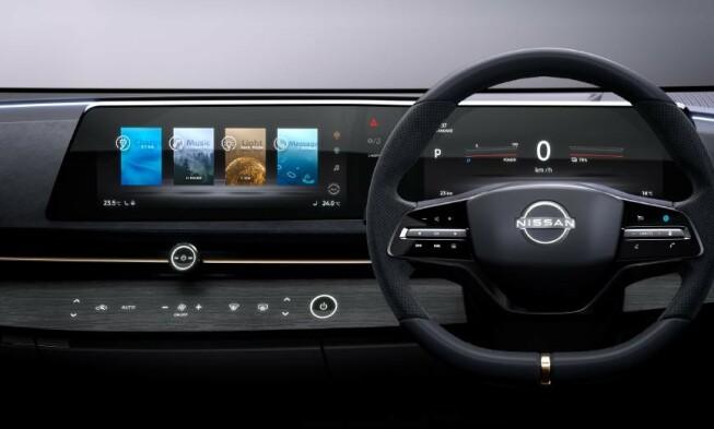 KNAPPEFRI: Kun to knapper finnes på dashbordet til konseptbilen Ariya. Foto: Nissan