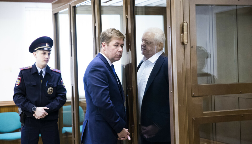 Frode Berg og hans forsvarer, advokat Ilja Novikov, ved byretten i Moskva da Berg ble dømt til 14 års fengsel. Foto: Berit Roald / NTB scanpix