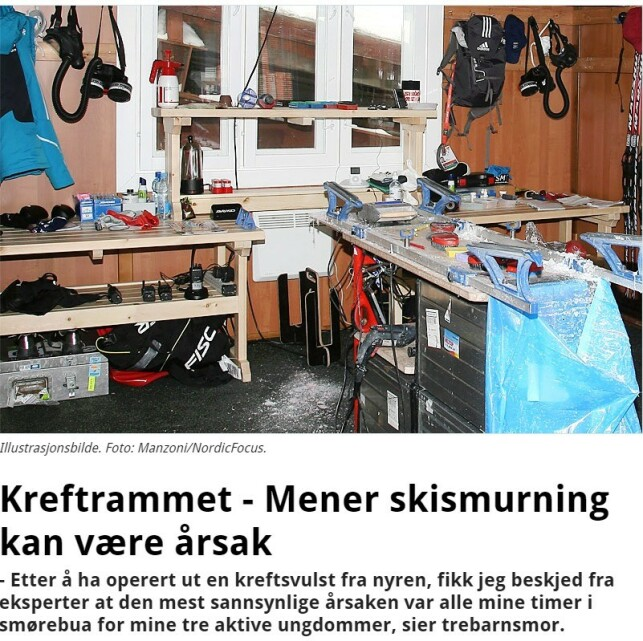 "Facsimile Langrenn.com: ""Stricken with Cancer—Thinks Waxing Skis Might Be the Cause"""