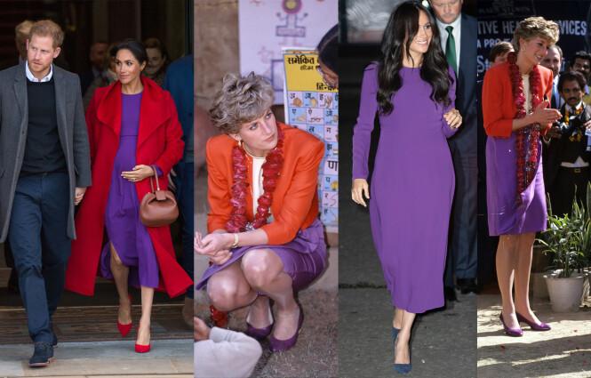 INSPIRASJON: Det er ingen tvil om at hertuginne Meghan har latt seg inspirere av ektemannens avdøde mor i klesveien. FOTO: NTB scanpix