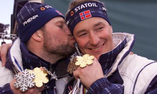 FANTASTISK SESONG: Både Kjus og Aamodt hadde med seg edelt metall hjem fra VM and Vail and 1999. I totalcupen trakk Kjus det lengste strået. Photo: Arnt E. Folvik / Dagbladet