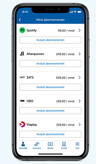 FULL CONTROL: The new online and mobile banking makes it easy to control and cancel subscriptions directly. Photo: screenshot.