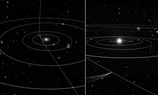 Her kan du se banen til 21/Borisov. Foto: NASA, ESA, and J. Olmsted and F. Summers (STScI).