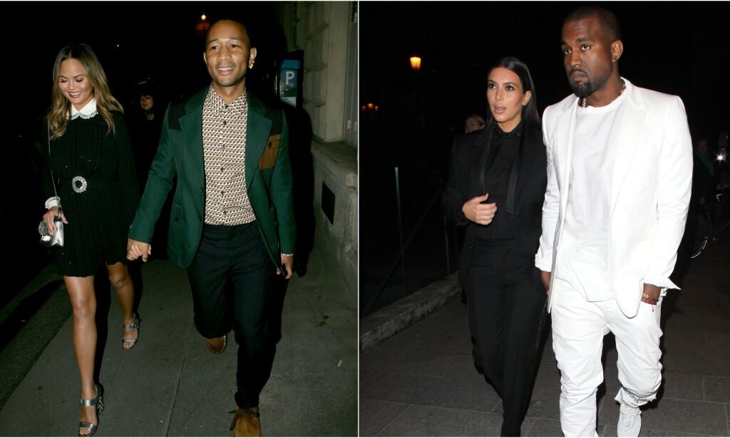 BERØMTE PAR: Chrissy Teigen og John Legend har lenge hatt et vennskap til Kim Kardashian og Kanye West. Vennskapet mellom de to stjerneparene er derimot ikke som folk tror. Foto: NTB Scanpix