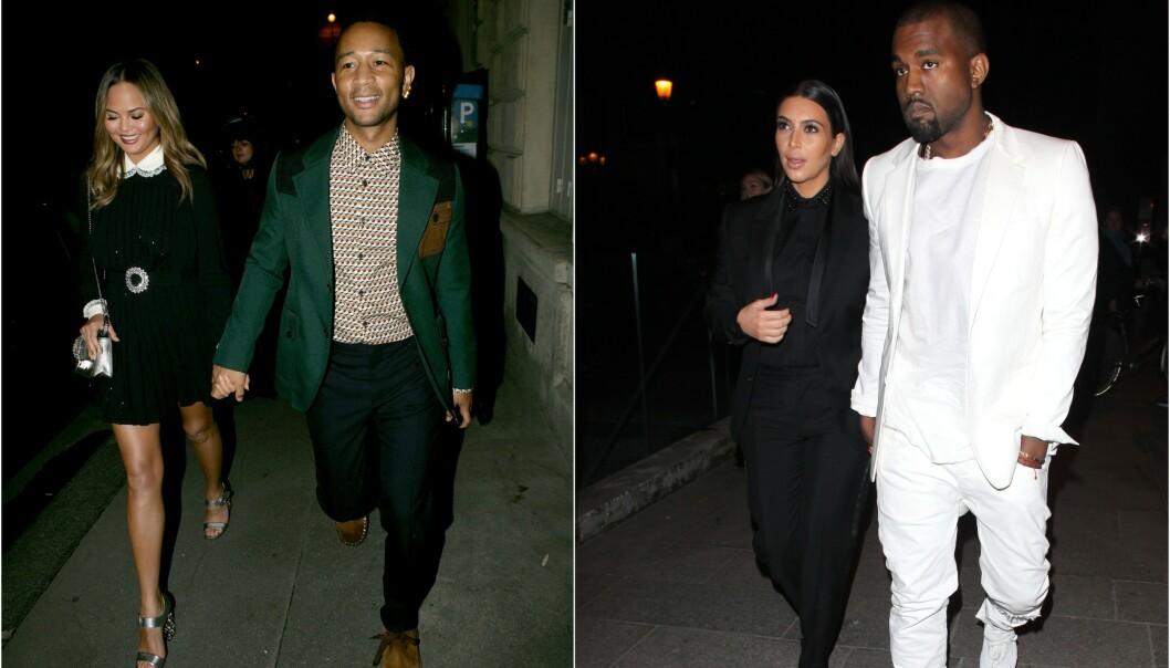 <strong>BERØMTE PAR:</strong> Chrissy Teigen og John Legend har lenge hatt et vennskap til Kim Kardashian og Kanye West. Vennskapet mellom de to stjerneparene er derimot ikke som folk tror. Foto: NTB Scanpix