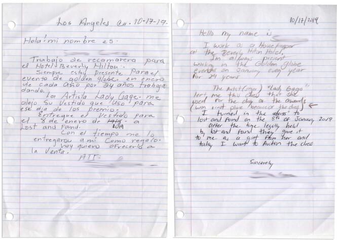 Dette brevet skal en ansatt ved The Beverly Hilton ha skrevet. Foto: NTB Scanpix
