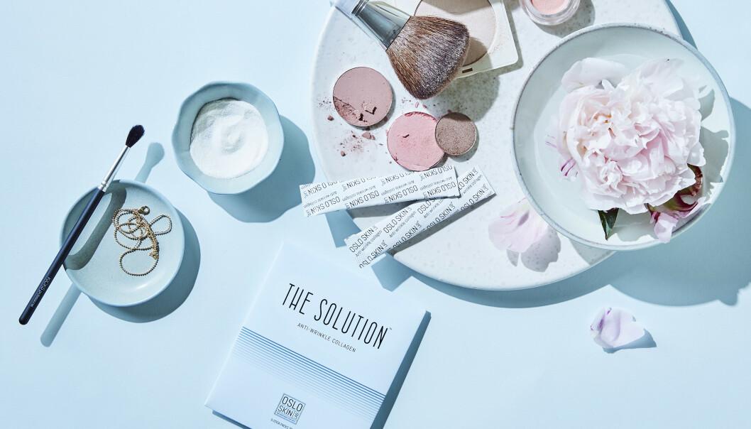 LØSNINGEN: Kollagenpulveret The Solution ble løsningen da Annette Brenne lette etter noe som kunne «mykne» opp rynker og øke elastisiteten – og samtidig bremse fremkomsten av nye alderstegn. FOTO: Oslo Skin Lab