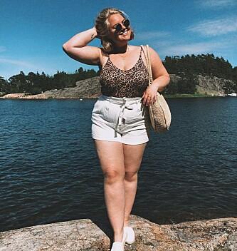 GÅR GJERNE I SHORTS: Johanna er gjennom Instagram et forbilde for mange kvinner som gjemmer kroppen sin i sommermånedene. FOTO: Privat