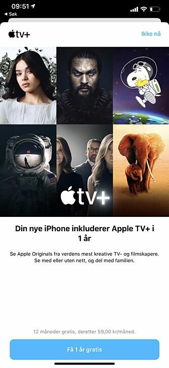 <strong>FRISTENDE TILBUD:</strong> Apple kan tilby ett år gratis Apple TV+ for de som har kjøpt seg et nytt Apple-produkt. Skjermbilde: Kirsti Østvang