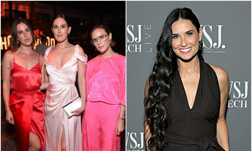 TØFF TID: Etter skilsmissen fra Ashton Kutcher gikk Demi Moore og døtrene gjennom en vanskelig periode. Foto: NTB Scanpix