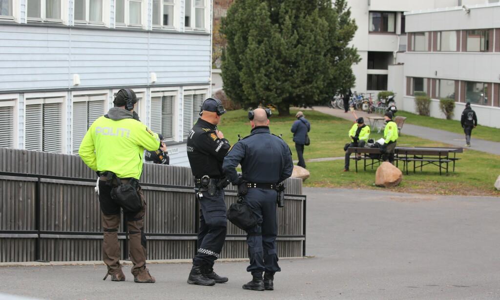 Politiet rykket ut til et høyreekstremt arrangement på Sinsen i Oslo. Foto: Ørn E. Borgen / NTB scanpix.
