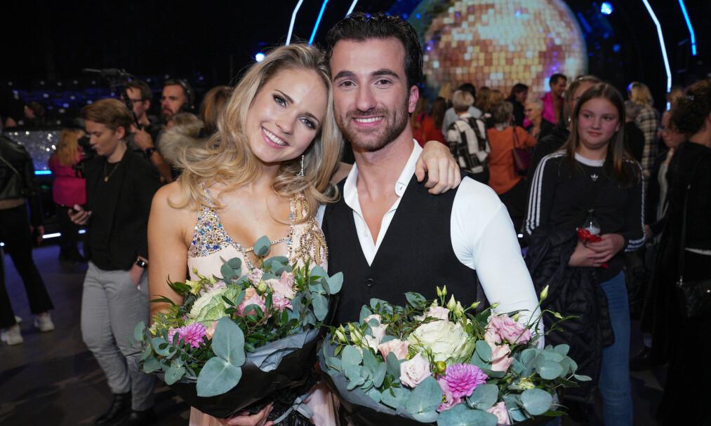 UTE AV DANSEN: Emilie Nereng og Santino Mirenna måtte lørdag takke for seg. Foto: TV 2 / NTB Scanpix