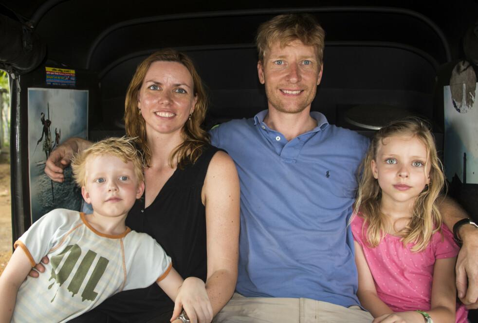 REISE MED BARN: Den reiseglade danske familien har besøkt en lang rekke land som nok ikke er på bucketlisten hos de fleste. Fra venstre; Jonas, Charlotte, Jakob og Ava. FOTO: Privat