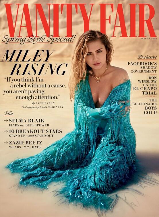 <strong>STORT INTERVJU:</strong> Miley Cyrus snakker ut i mrasutgaven av Vanity Fair. Foto: Faksimile fra Vanity Fair