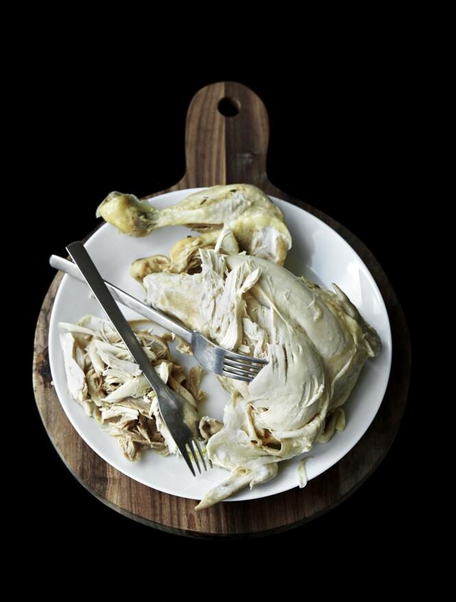 2. Ta kyllingen opp av gryten, og la den kjøles lett ned på et fat. Plukk kjøttet av kyllingen, og vei opp 500 g kyllingkjøtt som skal brukes til kyllingsalaten. La kjøttet kjøles helt av. FOTO: Betina Hastoft