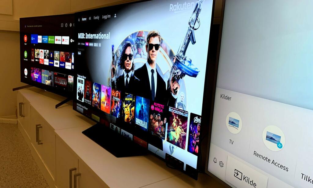 PRISFALL: Det er bare tre uker siden vi testet disse tre TV-ene. Én av dem har falt nesten 40 prosent i pris. Foto: Bjørn Eirik Loftås