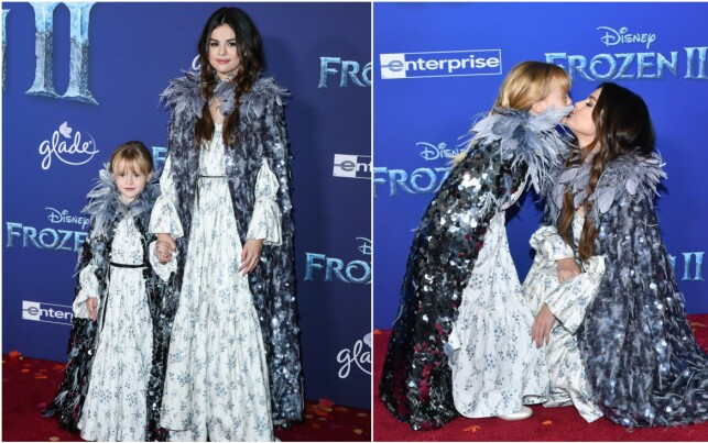 """WITH LITTLE SISTERS: Selena Gomez was undoubtedly the big hero of little sister Grace when the cast took the six-year-old to the premiere of """"Frost 2"""". Photo: NTB scan"""