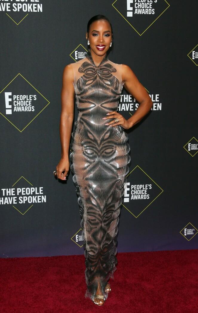 SANGSTJERNE: Kelly Rowland på den røde løperen. Foto: NTB Scanpix