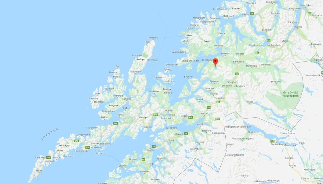 HER SKJER SØKET: Dykkere og helikopter er involvert i søk i Skøvatnet i Troms. Skjermdump: Google Maps