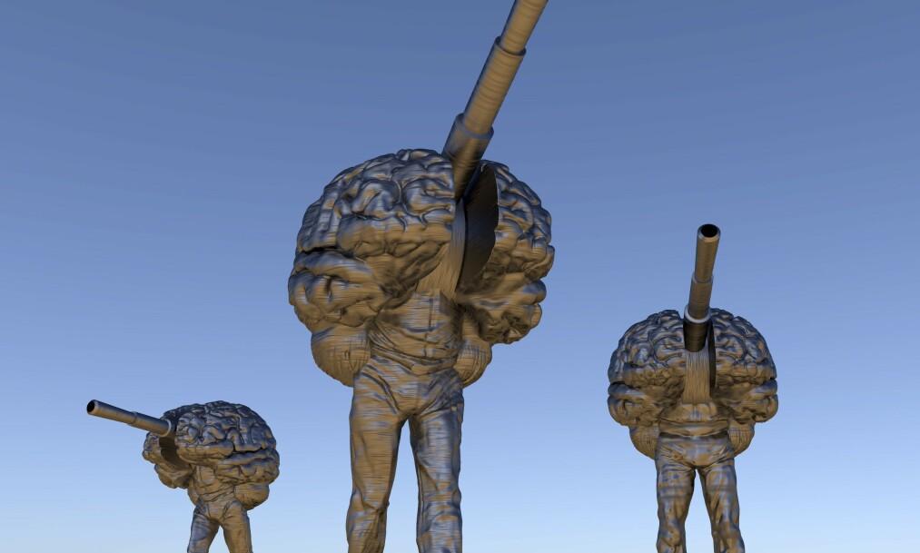 <strong>NYE VÅPEN:</strong> Disse tre robotene er illustrasjoner på robotvåpen, eller såkalte dødelige autonome våpensystem, som mange frykter kan bli en del av krigføringa i framtida. Illustrasjonen kombinerer et menneske, et våpen og en hjerne. Foto: Science Photo Library