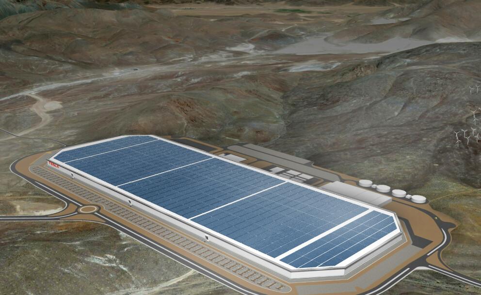 GIGAFACTORY: Elon Musk melder at de skal bygge en GigaFactory i nærheten av Berlin. Her illustrert i Nevada. Illustrasjon: Tesla