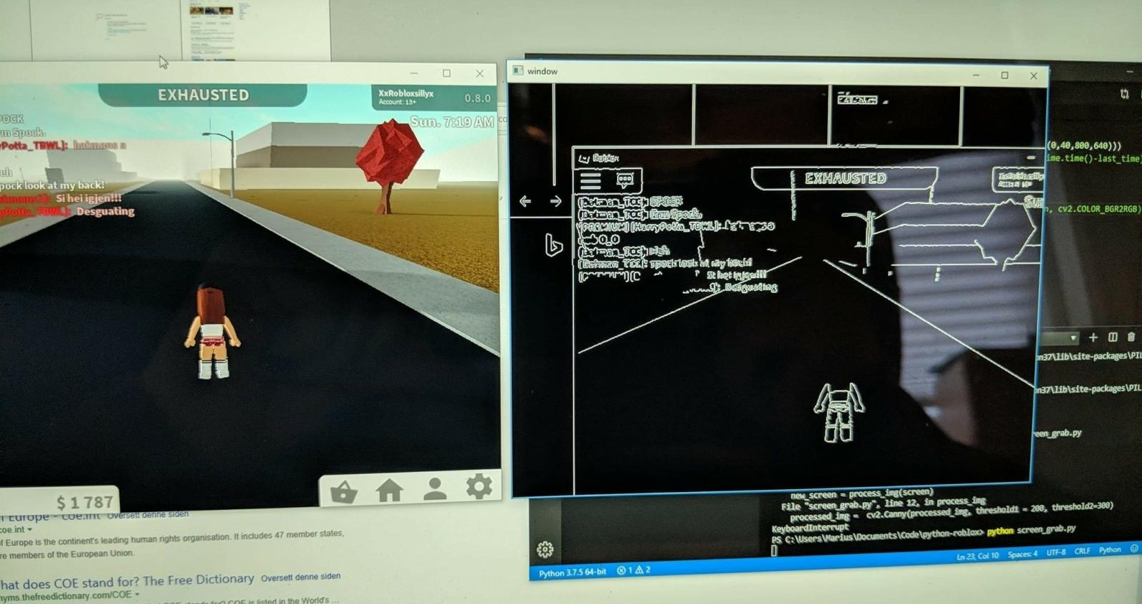 Slik ser det ut når AI-spilleren til Marius prøver å traversere Roblox. 📸: Privat