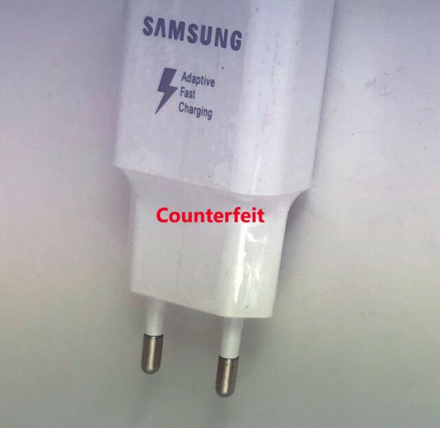 Falsk Samsung-lader. Foto: Rapex