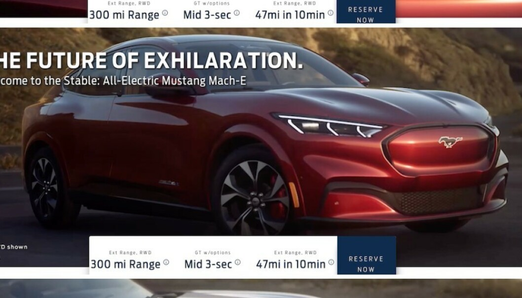 NYE MACH-E: Bilder, priser og spesifikasjoner om Fords nye elbil ble i natt lekket gjennom et fordforum. Foto: skjermdump, macheforum.com