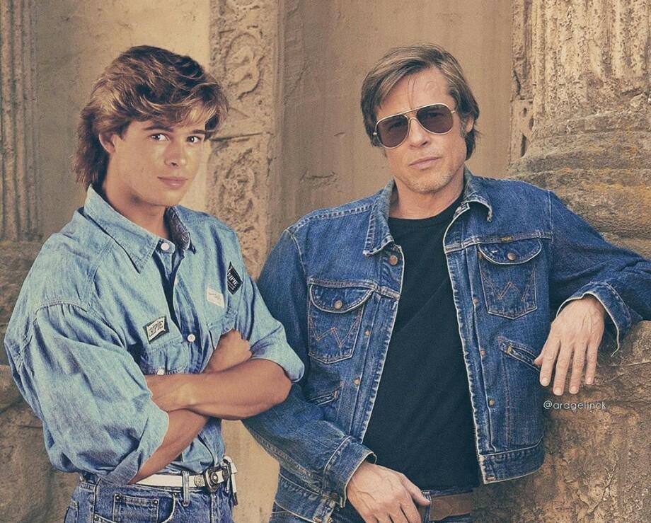 DA OG NÅ: Hvem skulle tro at nærmere 40 år skiller disse bildene av Brad Pitt? Filmstjernen er minst like flott i dag som på 80-tallet! FOTO: Instagram