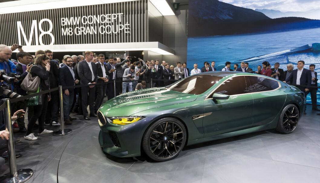 <strong>AVDUKET:</strong> BMW M8 Gran coupe ble presentert under Geneva International Motor Show i Sveits i fjor. Foto: Cyril Zingaro / AP / NTB Scanipx