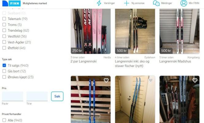 <strong>SKI TIL STORE OG SMÅ:</strong> Du kan finne fine smøre(frie)ski og felleski på Finn.no. Foto: skjermdump.