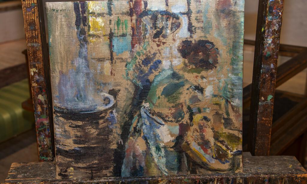 FLAKS: Dette er bildet Bajand kjøpte for 200 kroner på Fretex. Ifølge kunstansvarlig Pascal Nyborg ved Christiania Auksjoner ble det malt av Ludvig Karsten i 1923, og kan være verdt flere hundre tusen. Foto: Hans Arne Vedlog