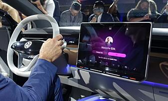 TESLAKOPI? VW har valgt samme skjermløsning som Tesla sin nye Model 3. Foto: Fred Magne Skillebæk