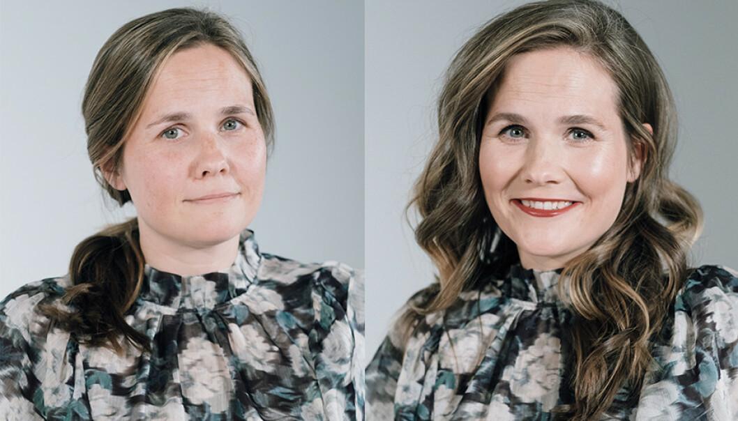 FØR OG ETTER: Med enkle grep gjorde makeup-artist Linda Wickmann Kristine klar for årets festsesong! FOTO: Johannes Sunde